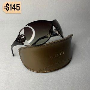 Gucci Shield Vintage Gradient Tortoise Sunglasses